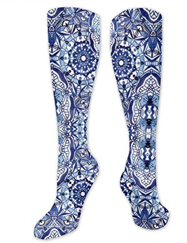 Nifdhkw Delft Blue Mandalas Funny Athletic Socks Best Socks for Women and Men Running Travel Christmas compression socks