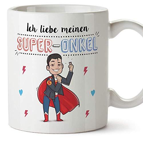 Mugffins Onkel Tasse/Becher/Mug - Ich Liebe Meinen Super-Onkel - Schöne und lustige Kaffeetasse als Geschenkidee für Onkel. Keramik 350 mL