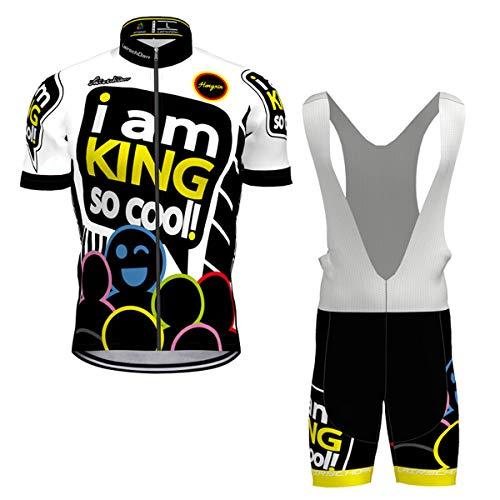 Hengxin Maillot Ciclismo Corto De Verano para Hombre, Ropa Culote Conjunto Traje Culotte Deportivo con 9D Almohadilla De Gel para Bicicleta MTB Ciclista Bici (Blanco, XXL)
