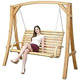 Hollywoodschaukel aus Holz Lärche Gartenschaukel Set Holzgestell mit 3-sitzer Holzbank Für Innen und Außen
