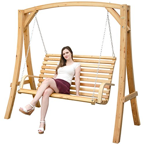 AMANKA Garden Patio Swing in Larch Wood Wooden Porch Swing Set 2-3 Seater Hanging Bench with Frame for Indoor and Outdoor Rocking Seat for the whole Family Swinging Lounger