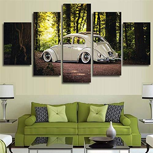 GIRDSS Wandkunst Leinwand Wohnzimmer Hauptdekoration Poster VW Käfer Auto Ölgemälde HD-Druck Wald Bild -30x40 30x60 30x80cm Rahmenlos
