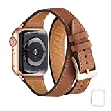 Bestig Band Compatible for Apple Watch 38mm 40mm 42mm 44mm, Genuine Leather Double Tour Designed Slim Replacement Strap for iWatch Series 6 SE 5 4 3 2 1 (Brown Band+Rose Gold Connector, 38mm 40mm)