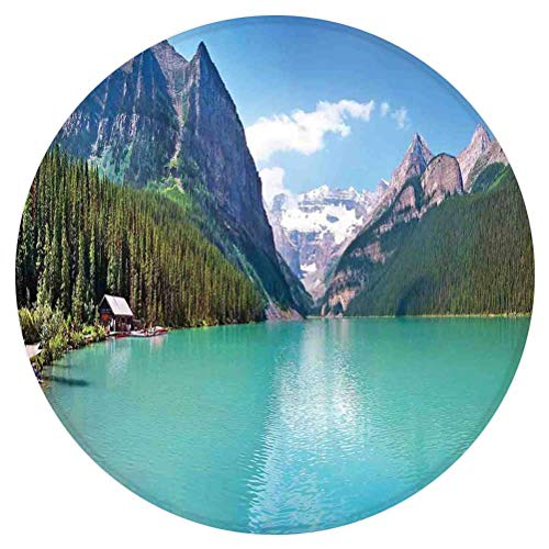 SoSung Lake House Decor Round Area Rug,Mountain and Lake Louise Panorama in Banff National Park Alberta Canada,for Living Room Bedroom Dining Room,Round 5'x 5',Turquoise Blue