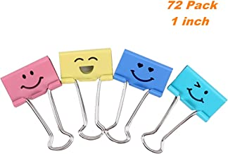 72 Pack Medium Paper Clips (1 inch/25mm), Smiling Face Binder Clips, Assorted Colors (1 inch)