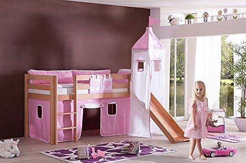 Dreams4Home Kinderbett Hochbett Spielbett Bett 'Maila Rosa Weiß' 90 x 200 cm Buche massiv natur lackiert inklusive Rutsche Turm Vorhang, Ausführung Bett inkl. Set (Turm. Vorhang)