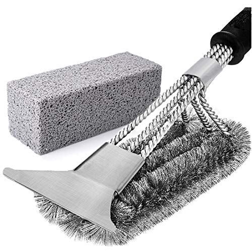 Grill Griddle Cleaning Brick Block & Brush, Bristle Free Grill Cleaning Brush with Scraper, De-Scaling Cleaning Stone for BBQ Grills, Racks, Flat Top Cookers(Set of 2)