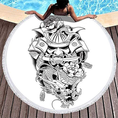 Toalla de Playa Redonda de Microfibra con Estampado de Tatuaje de Flores de dragón japonés con borlas Chal de Playa con Flecos Tribales Blanco 59 pulgadas-Blanco-59 Pulgadas