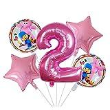 Globo 5pcs / set 18inch rosado de la estrella de dibujos animados Pocoyó hoja hincha Set 30 pulgadas Ducha Número Aire Globos de bebé Niños Decoración fiesta de cumpleaños ( Color : Number 2 set )