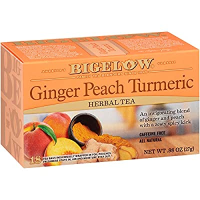 Bigelow Tea Ginger Peach Turmeric Herbal Tea Bags, 18 Count Box (Pack of 6) Caffeine-Free Herbal Tea, 108 Tea Bags Total by R. C. Bigelow, Inc