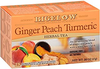 Bigelow Tea Ginger Peach Turmeric Herbal Tea Bags, 18 Count Box (Pack of 6) Caffeine-Free Herbal Tea, 108 Tea Bags Total