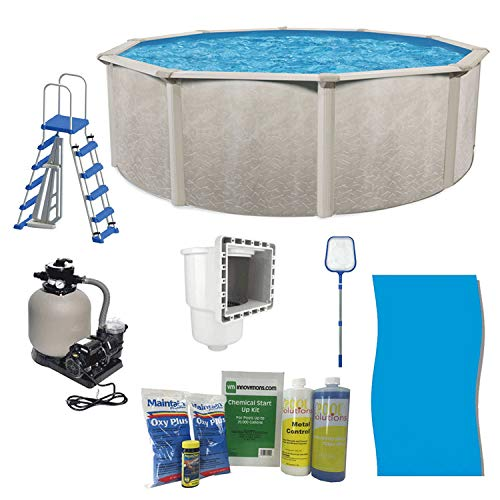 """Aquarian Phoenix 21' x 52"""" Steel Frame Above Ground Swimming Pool, Pump and Ladder Kit with Sand Filter, Pool Liner, Skimmer, and Cleaning Accessories"""