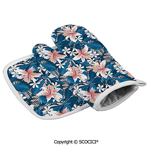 Homenon Durable Oven Glove Singapore Plumeria and Tropical Hibiscus Hawaiian Flowers Grunge Design Heat Resistant Kitchen Insulated Glove + Insulated Square Mat Insulated Glove Combination