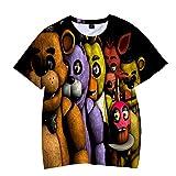 Five Nights at Freddy'S Camiseta Y los Hombres de Manga Corta de algodón-La Camiseta de Las Mujeres del Estiramiento de Cuello Redondo Loose Fit La Mitad de Manga Transpirable Camiseta de Moda Unisex