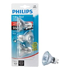 This 50 watt indoor flood bulb creates crisp, white accent lighting around the home and in enclosed outdoor fixtures Versatile for multiple applications, this 430 lumen bulb is ideal for use in indoor recessed cans and track lights Features a GU10 ba...