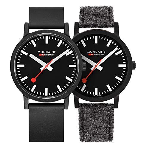 Mondaine Essence, orologio al quarzo nero sostenibile per uomini e donne con cinturini alternativi facili da cambiare, 41 mm