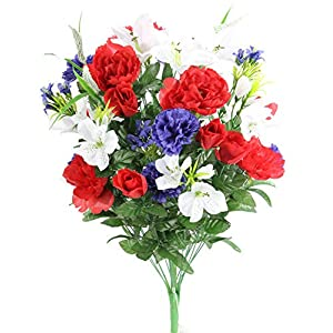 Admired By Nature ABN1B001-RD/WT/BL 40 Stems Artificial Full Blooming Lily, Rose Bud, Carnation and Mum with Greenery Mixed Flower Bush, Red/White/Blue, RD/WT/BL