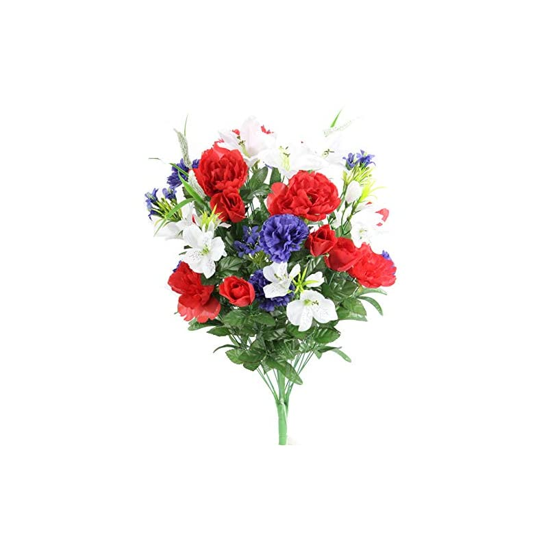 silk flower arrangements admired by nature abn1b001-rd-wt-bl artificial full blooming flowers, medium, 8. abn_rd/wt/bl_lily