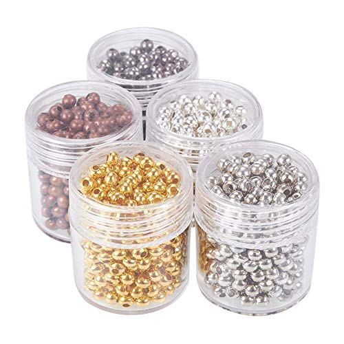 PandaHall 5 Scatole 1350PCS Perline Distanziatori Perline per Bigiotteria Perline Colorate in Ferro Rotonde Colore Misto 3mm