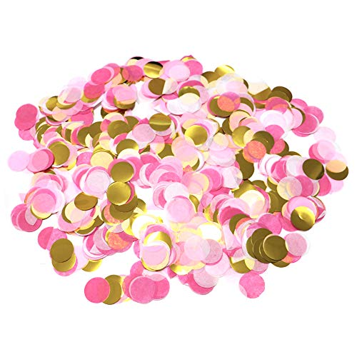 5000 Pieces Paper Table Confetti Circles, Party Confetti Dots for Wedding, Holiday, Anniversary, Birthday 1 Inch (1.76 OZ)-Pink & Gold Mix Confetti
