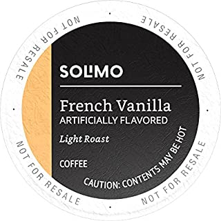 Amazon Brand - 100 Ct. Solimo Light Roast Coffee Pods, French Vanilla Flavored, Compatible with Keurig 2.0 K-Cup Brewers