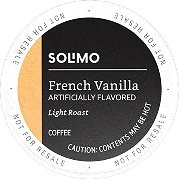 Amazon Brand 100 Ct Solimo Light Roast Coffee Pods French Vanilla Flavored Compatible With Keurig 2 0 K Cup Brewers