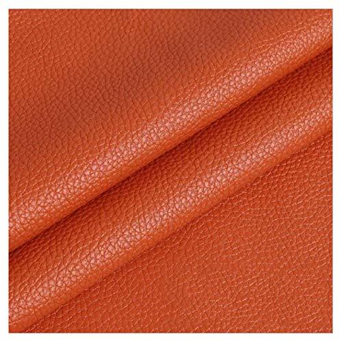 LILAMP Material Texturizado de Tapicería de Cuero Sintético Resistente de Tela de Piel Sintética - Naranja 1 Metro 100 Cm X 140 Cm(Size:1.4x10m)