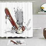 TARTINY 2-teiliges Duschvorhang-Set mit rutschfesten Teppichen,Skateboard mit Jungenfüßen in Sneakers & Jeans Illustration mit 12Haken,rutschfeste Badematte,wasserdichter Duschvorhang