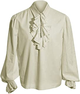 Mens Ruffled Medieval Colonial Pirate Costume Cosplay Button Down Long Sleeve White Shirt