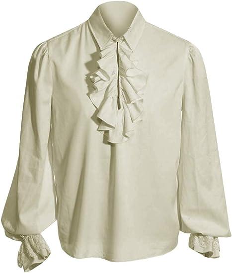 Fueri Camisa medieval para hombre, camisa gótica con volantes, camisa de cordones, disfraz steampunk, pirata, victoriano, renacimiento, Halloween, ...