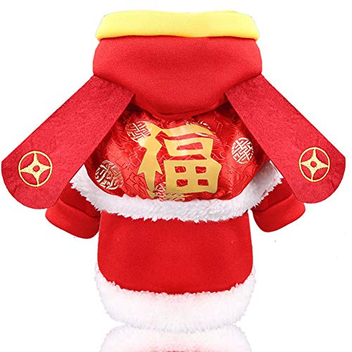DishyKooker New Year Cloak God of Wealth Hundekleidung Katze Haustier Kleidung Zubehör Warm Winter Coole Haustierkleidung, rot, M