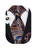 Barry.Wang Wedding Party Tie Set Paisley Handkerchief Cufflinks Set Woven,Orange.,One Size