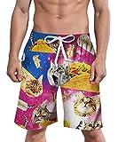 ALISISTER Male Swim Trunks Adult 3D Cat Taco Shorts Plus Size Vacation Underwear Tropical Beachwear XXXL Quick Dry with Drawstring