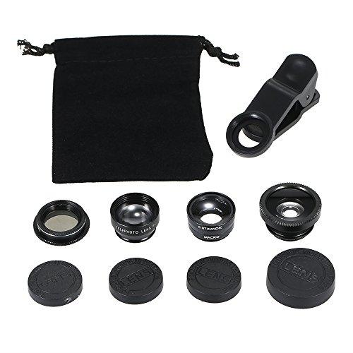 KKmoon Lente universal para celular 5 em 1 Fish Eye Macro grande angular 2X Teleconverter CPL kit de lente de câmera removível com clipe
