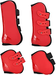 GLOGLOW Horse Leg Boot, 4Pcs Fore and Hind Leg Boots Adjustable Leg Guard Protector Horse Riding Equipment for Jumping Rid...