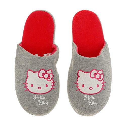 Hausschuhe Damen weich Hello Kitty grau warm Kinder Schlappen Slipper - 35/38-39/42 (35-38)