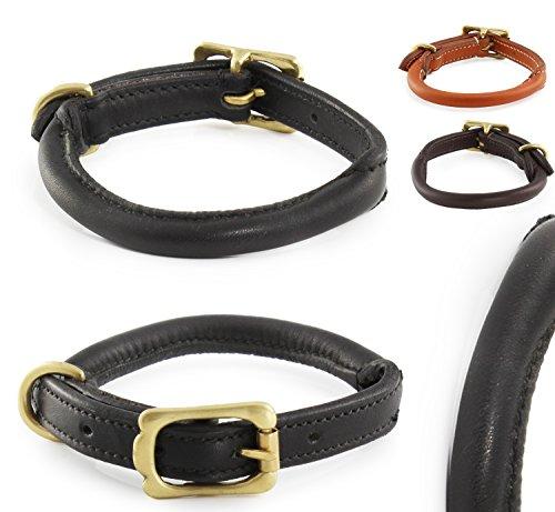 Pear - Tannery - Classic Line: Hundehalsband Aus Weichem Vollrindleder, Handgerollt, M 41-51cm, Schwarz