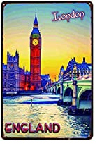 イングランドティンウォールサインおかしい鉄絵ヴィンテージメタルプラーク装飾警告サイン吊りアートワークポスター用バーコーヒーパーク