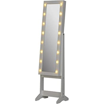 LED White NextGen ViscoLogic Mirrored Jewelry Cabinet Armoire Cuff-Links Earrings Ties and More Bracelets Space for Necklaces Rings