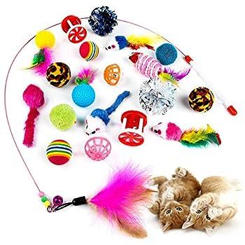 MOOKLIN ROAM Kit Jouet Chats, 20 pièces Jouet à Plumes pour Chats, Jouet pour Chat Animaux Domestiques Toys, Interactif Canne a Peche Jouet pour Chaton Minou