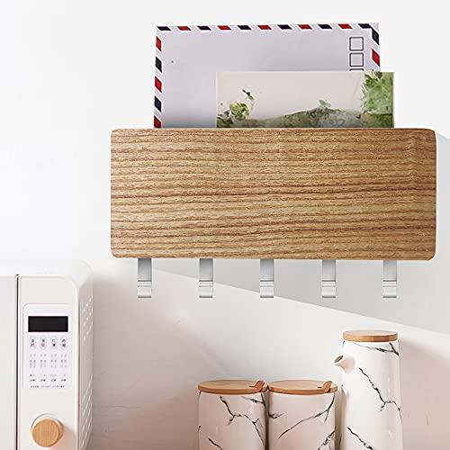Colgador de llaves con estante, tablero de madera con 5 ganchos, moderno soporte para llaves de pared, organizador para correo o también vehículo, color madera natural