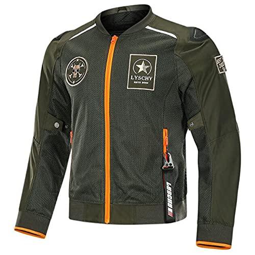 WFGZQ Chaqueta de Moto para Hombre con Protecciones CE Impermeable Reflectantes Chaqueta de Motocicleta para Viajes en Moto