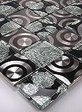 Bador - Mosaico de cristal de mosaico, azulejos de cristal, acero inoxidable, color negro y...