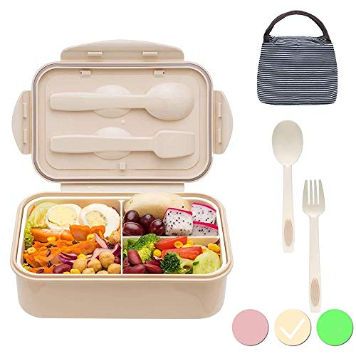 1400 ml Bento Box Japanese Lunch Box With Spoon & Fork - Leakproof Eco lunchbox for Kids and Adults with Lunch Bag- BPA Free(Beige)