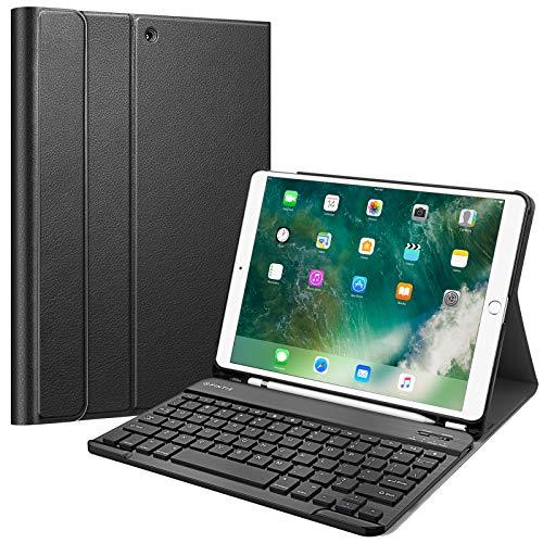 """Fintie Capa de teclado para iPad Air 3ª geração 10,5"""" 2019 / iPad Pro 10,5"""" 2017 - Capa protetora com suporte SlimShell com teclado Bluetooth sem fio e suporte de lápis magnético removível, Preto"""