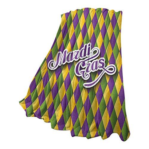 Anmaseven Mardi Gras Queen Size Blanket Cozy and Soft Throw Hand Writing Calligraphy Design on Diamond Line Pattern Iconic Colors Purple Green Yellow 54' W x 84' L