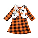 Fioukiay Toddler Girls'-Boutique-Outfit-Clothes-Dresses Set 2PCS Long Sleeve Buffalo Plaid Dress and Faux Fur Vest Coat (Orange, 5-6T)