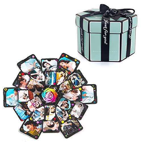 LTHTX Caja de explosión hexagonal sorpresa hecha a mano, álbum de fotos, caja de regalo de boda para cajas de San Valentín (Tiffany azul)