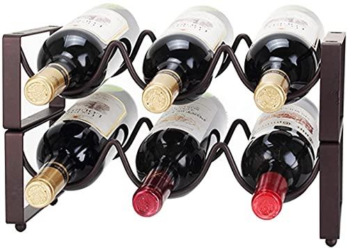 BGHDIDDDDD Novedad Estante para Vino 3/6 Botellas de Hierro Estante para Vino Apilable Estante de Alenamiento Estante para Encimera Estante para Botellas Sólido Alenamiento para Gabinete de Vino Orga