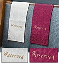 Embroidered Jacquard Reserve Cloth Reserved Seating Placeholder for Church Pew Seats (Burgundy)